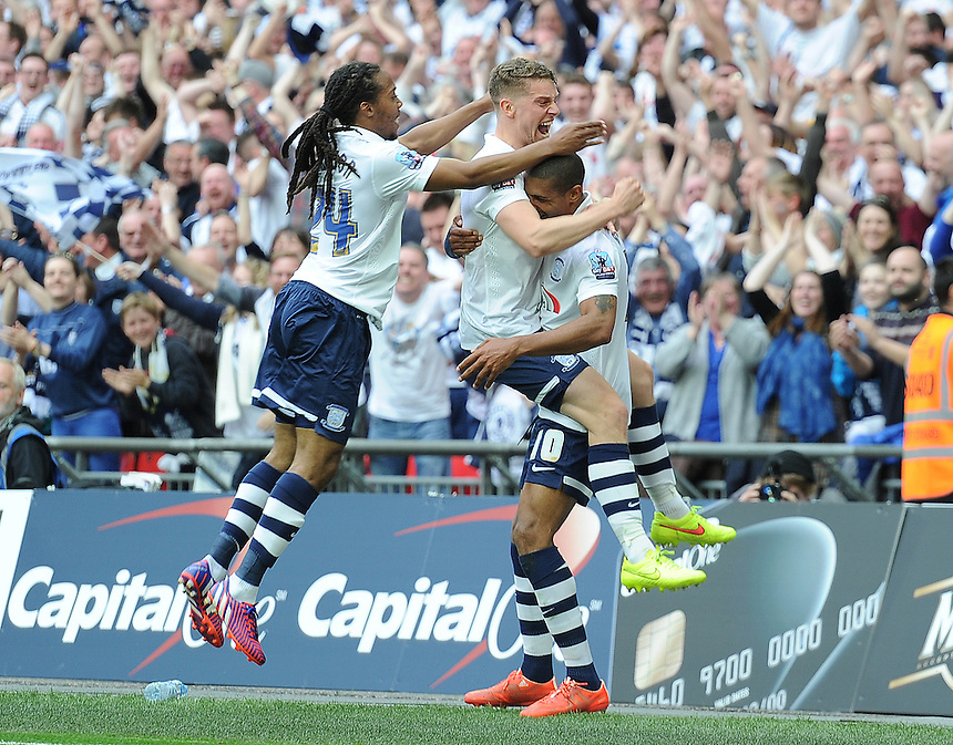 GOAL - Preston North End's Jermaine Beckford scores his sides fourth goal <br /> <br /> Photographer Craig Thomas/CameraSport<br /> <br /> Football - The Football League Sky Bet League One Play-Off Final - Preston North End v Swindon Town - Sunday 24th May 2015 - Wembley Stradium - London<br /> <br /> &copy; CameraSport - 43 Linden Ave. Countesthorpe. Leicester. England. LE8 5PG - Tel: +44 (0) 116 277 4147 - admin@camerasport.com - www.camerasport.com