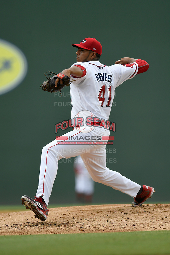 Starting pitcher Denyi Reyes (41) of the Greenville Drive delivers a pitch in a game against the Augusta GreenJackets on Thursday, May 17, 2018, at Fluor Field at the West End in Greenville, South Carolina. Augusta won, 2-1. (Tom Priddy/Four Seam Images)