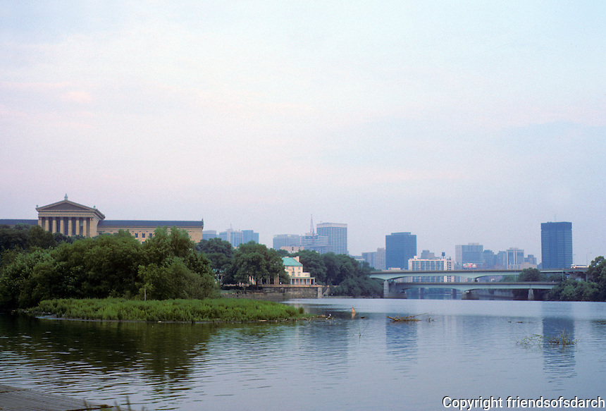 Philadelphia: View of Schuylkill River, Art Museum, Water Works. Photo '85.