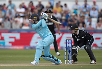Jason Roy (England) goes aerial over extra cover during England vs New Zealand, ICC World Cup Cricket at The Riverside Ground on 3rd July 2019