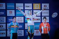 Men U23 podium:<br /> 1/ Michael Vanthourenhout (BEL)<br /> 2/ Laurens Sweeck (BEL)<br /> 3/ Stan Godrie (NLD)<br /> <br /> 2015 UCI World Championships Cyclocross <br /> Tabor, Czech Republic
