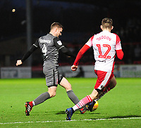 Lincoln City's Michael O'Connor under pressure from Stevenage's Steve Seddon<br /> <br /> Photographer Andrew Vaughan/CameraSport<br /> <br /> The EFL Sky Bet League Two - Stevenage v Lincoln City - Saturday 8th December 2018 - The Lamex Stadium - Stevenage<br /> <br /> World Copyright © 2018 CameraSport. All rights reserved. 43 Linden Ave. Countesthorpe. Leicester. England. LE8 5PG - Tel: +44 (0) 116 277 4147 - admin@camerasport.com - www.camerasport.com