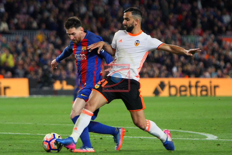 League Santander 2016/2017. Game: 28.<br /> FC Barcelona vs Valencia CF: 4-2.<br /> Lionel Messi vs Martin Montoya.