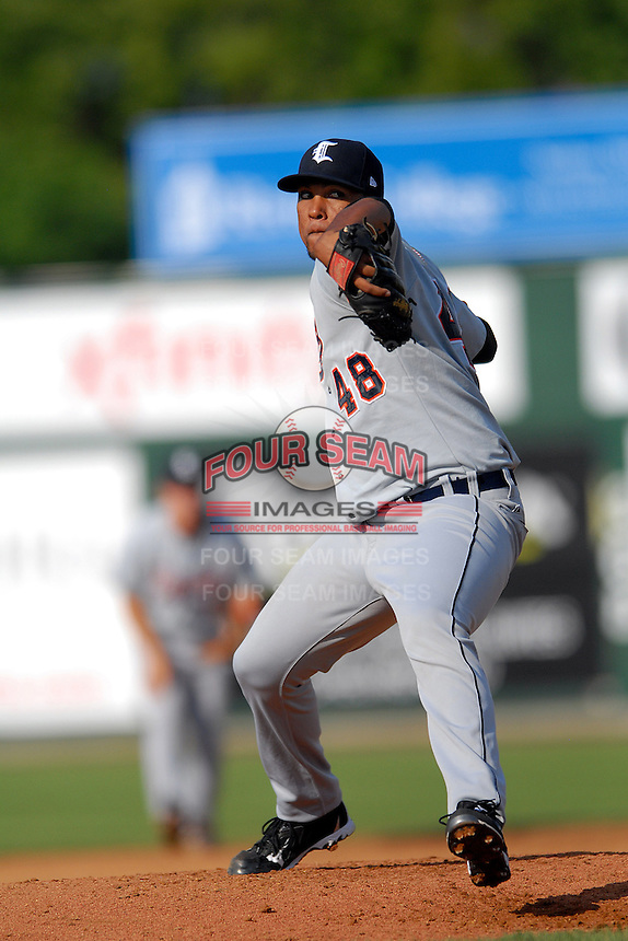 Pitcher Wilsen Palacios #48 of the Connecticut Tigers during a game versus the Lowell Spinners at LeLacheur Park in Lowell, Massachusetts on June 18, 2011. (Ken Babbitt/Four Seam Images)