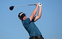 Paul Dunne of Ireland tees off during Round 2 of the 2015 Alfred Dunhill Links Championship at the Old Course, St Andrews, in Fife, Scotland on 2/10/15.<br /> Picture: Richard Martin-Roberts | Golffile