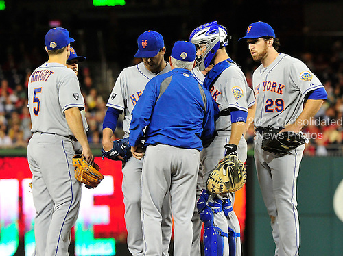 New York Mets pitcher Tim Byrdak (40) is pulled from the game in the seventh inning against the Washington Nationals at Nationals Park in Washington, D.C. on Wednesday, June 6, 2012.  The Nationals won 5 - 3..Credit: Ron Sachs / CNP.(RESTRICTION: NO New York or New Jersey Newspapers or newspapers within a 75 mile radius of New York City)