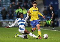Leeds United's Kun Temenuzhkov competing with Queens Park Rangers' Osman Kakay<br /> <br /> Photographer Andrew Kearns/CameraSport<br /> <br /> The Emirates FA Cup Third Round - Queens Park Rangers v Leeds United - Sunday 6th January 2019 - Loftus Road - London<br />  <br /> World Copyright &copy; 2019 CameraSport. All rights reserved. 43 Linden Ave. Countesthorpe. Leicester. England. LE8 5PG - Tel: +44 (0) 116 277 4147 - admin@camerasport.com - www.camerasport.com