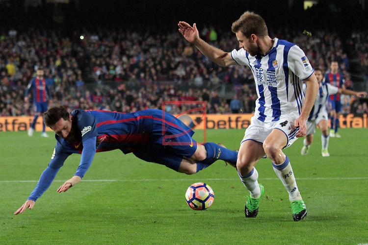 League Santander 2016/2017. Game: 32.<br /> FC Barcelona vs Real Sociedad: 3-2.<br /> Lionel Messi vs Illarra.