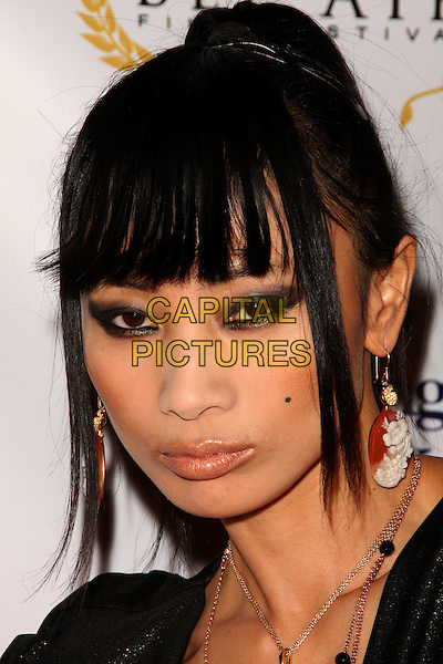 BAI LING .1st Annual Film Festival held at a Bel Air Private Estate, Bel Air, California, USA, 14 November 2008..portrait headshot fringe make-up eyeliner black eyeshadow earrings .CAP/ADM/KB.©Kevan Brooks/Admedia/Capital PIctures