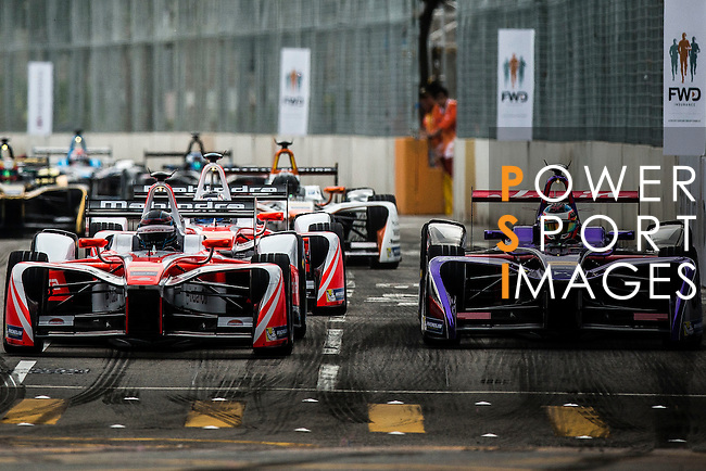 Nick Heidfeld of Mahindra Racing team (L) during the first race of the FIA Formula E Championship 2016-17 season HKT Hong Kong ePrix at the Central Harbourfront Circuit on 9 October 2016, in Hong Kong, China. Photo by Victor Fraile / Power Sport Images
