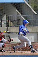 University of Kentucky Wildcats center fielder Kyle Barrett (4) at bat during a game against the Ball State Cardinals at Brooks Field on the campus of University of North Carolina-Wilmington on February 13, 2015 in Wilmington, North Carolina. Kentucky defeated Ball State 11-7. (Robert Gurganus/Four Seam Images)