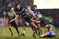 Matt Banahan of Bath Rugby offloads the ball in the air. Anglo-Welsh Cup match, between Bath Rugby and Newcastle Falcons on January 27, 2018 at the Recreation Ground in Bath, England. Photo by: Patrick Khachfe / Onside Images