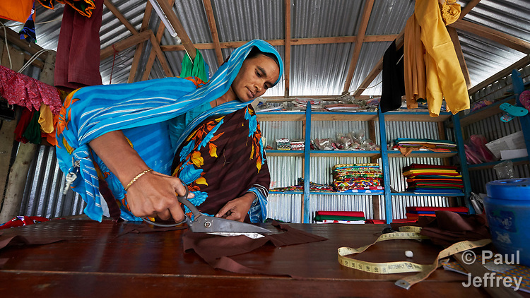 Jahanara Khatun is a tailor in West Fasura, a village on an island in the Brahmaputra River in northern Bangladesh.