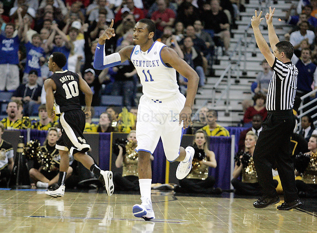Freshman guard John Wall celebrates after making a shot during the first half of UK's second round  win over Wake Forest in the NCAA tournament at New Orleans Arena on Saturday, March 20, 2010. Photo by Britney McIntosh | Staff
