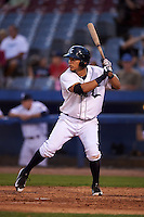 Connecticut Tigers third baseman Steven Fuentes (56) at bat during the first game of a doubleheader against the Brooklyn Cyclones on September 2, 2015 at Senator Thomas J. Dodd Memorial Stadium in Norwich, Connecticut.  Brooklyn defeated Connecticut 7-1.  (Mike Janes/Four Seam Images)