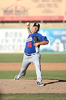 Adam Bray (48) of the Rancho Cucamonga Quakes pitches against the High Desert Mavericks at Heritage Field on August 7, 2016 in Adelanto, California. Rancho Cucamonga defeated High Desert, 10-9. (Larry Goren/Four Seam Images)