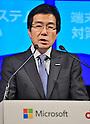 November 1, 2012, Tokyo, Japan : Yasuyuki Higuchi, President of Microsoft Co. Ltd., Japan attends a joint press conference in Tokyo, Japan, on November 1, 2012.