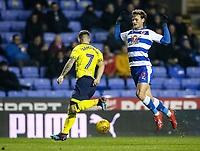Blackburn Rovers' Adam Armstrong competing with Reading's John Swift  <br /> <br /> Photographer Andrew Kearns/CameraSport<br /> <br /> The EFL Sky Bet Championship - Reading v Blackburn Rovers - Wednesday 13th February 2019 - Madejski Stadium - Reading<br /> <br /> World Copyright © 2019 CameraSport. All rights reserved. 43 Linden Ave. Countesthorpe. Leicester. England. LE8 5PG - Tel: +44 (0) 116 277 4147 - admin@camerasport.com - www.camerasport.com