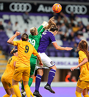 20190912 - Anderlecht , BELGIUM : Anderlecht's  Tine De Caigny and BIIK-Kazygurt's keeper Oksana Zhelezynak is pictured battling for the ball during the female soccer game between the Belgian Royal Sporting Club Anderlecht Dames  and BIIK Kazygurt from Shymkent in Kazachstan, this is the first leg in the round of 32 of the UEFA Women's Champions League season 2019-20120, Thursday 12 th September 2019 at the Lotto Park in Anderlecht , Belgium. PHOTO SPORTPIX.BE | SEVIL OKTEM