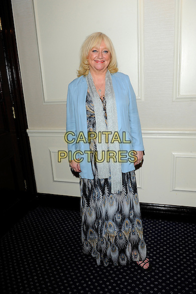 Judy Finnigan.Romantic Novel of the Year Awards, the Royal Air Force Club, The Presidents Room, 128 Piccadilly, London, England..February 26th, 2013.full length black grey gray scarf blue pattern dress blazer peacock feather print.CAP/CJ.©Chris Joseph/Capital Pictures.