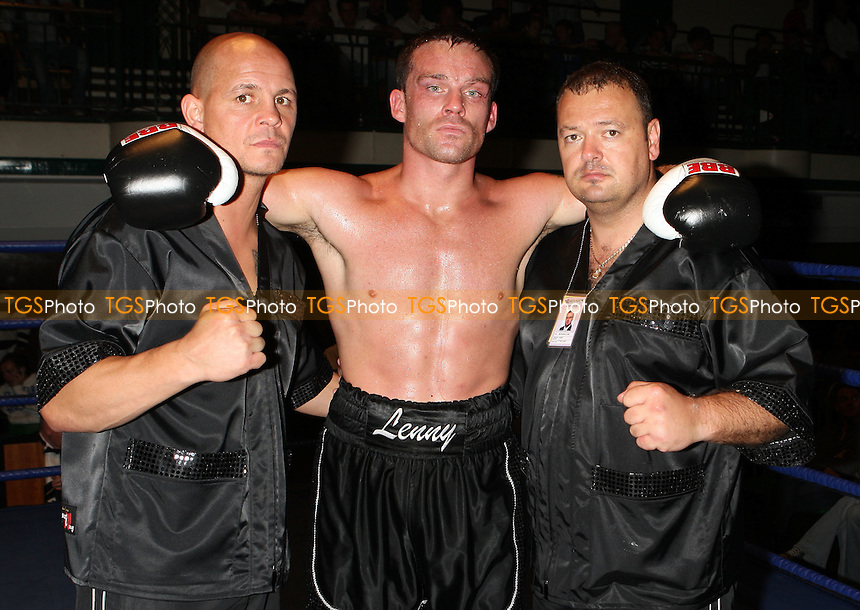 Billy Slate (black shorts) defeats Jame Ambler in a Light-Heavyweight boxing contest at York Hall, Bethnal Green, promoted by Miranda Carter / Left Jab Promotions - 13/09/09 - MANDATORY CREDIT: Gavin Ellis/TGSPHOTO - Self billing applies where appropriate - Tel: 0845 094 6026