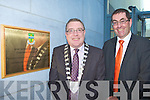 Kerry Mayor Bobby O'Connell and Kerry County Manager Tom Curran unvail the plaque at the official opening of the Kerry County Council offices and KCC Library in Castleisland on Friday