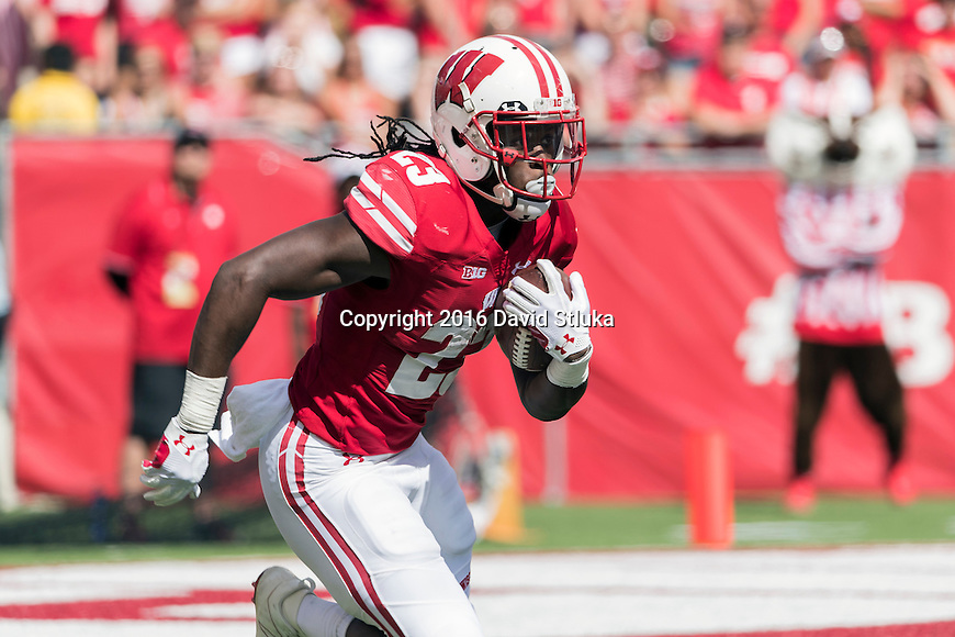 Wisconsin Badgers running back Dare Ogunbowale (23) returns a kickoff during an NCAA college football game against the Georgia State Panthers Saturday, September 17, 2016, in Madison, Wis. The Badgers won 23-17. (Photo by David Stluka)