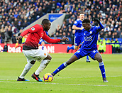 3rd February 2019, King Power Stadium, Leicester, England; EPL Premier League Football, Leicester City versus Manchester United; Romelu Lukaku of Manchester United is challenged by Wilfred Ndidi of Leicester City