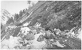 Scenery and dirt road with rock slide blockage.<br /> RGS  Rico, CO