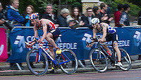 31 MAY 2015 - LONDON, GBR - Jonathan Brownlee (GBR) (left)from Great Britain and Premysl Svarc (CZE) (right) from the Czech Republic chase the front pack during the bike at the elite men's 2015 ITU World Triathlon Series round in Hyde Park, London, Great Britain (PHOTO COPYRIGHT © 2015 NIGEL FARROW, ALL RIGHTS RESERVED)
