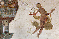 Fresco detail of a floating figure with scythe and corn, representing the autumn harvest, in the Triclinium, probably used for lunches, a large room open to the garden, with walls painted on a white background with figures and plants and ornamental borders and floating figures of the seasons, in the Casa dell Efebo, or House of the Ephebus, Pompeii, Italy. This room is decorated in the Fourth Style of Roman wall painting, 60-79 AD, a complex narrative style. This is a large, sumptuously decorated house probably owned by a rich family, and named after the statue of the Ephebus found here. Pompeii is a Roman town which was destroyed and buried under 4-6 m of volcanic ash in the eruption of Mount Vesuvius in 79 AD. Buildings and artefacts were preserved in the ash and have been excavated and restored. Pompeii is listed as a UNESCO World Heritage Site. Picture by Manuel Cohen