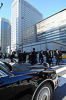 Businessmen on their way to work in the Otemachi business district in central Tokyo..04 Jan 2008