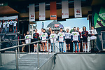 Canyon-SRAM at team presentation before the 2019 Liège-Bastogne-Liège Femmes,  running 138.5km from Bastogne to Liege, Belgium. 27th April 2019<br /> Picture: ASO/Thomas Maheux | Cyclefile<br /> All photos usage must carry mandatory copyright credit (© Cyclefile | ASO/Thomas Maheux)