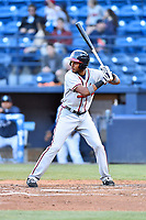 Rome Braves right fielder Isranel Wilson (5) awaits a pitch during a game against the Asheville Tourists at McCormick Field on April 17, 2018 in Asheville, North Carolina. The Tourists defeated the Braves 1-0. (Tony Farlow/Four Seam Images)