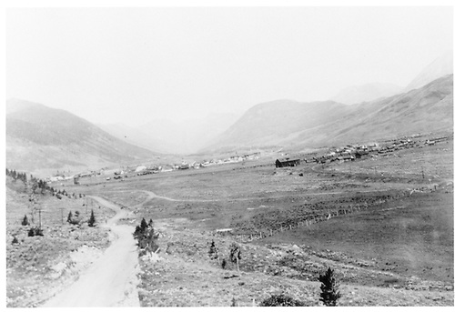Panorama of Crested Butte looking north from south of the wye.  Note D&amp;RGW engine house and section house in right center of photo.<br /> D&amp;RGW  Crested Butte, CO  ca. 1930<br /> In book &quot;Rio Grande Memories&quot; page 32
