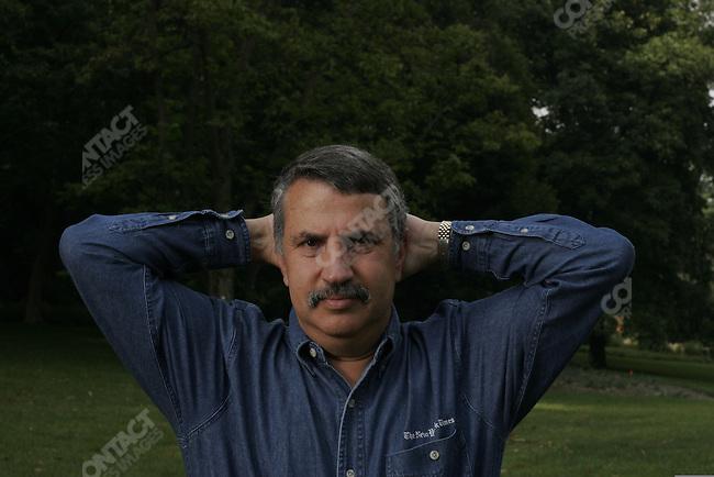 ©2005 David Burnett / Contact Press Images.July 11 2005.Washington DC   ..New York TImes columnist Tom Friedman, at his home in Bethesda, MD, just outside Washington DC