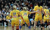 1. Bundesliga Handball Frauen - Punktspiel HC Leipzig (HCL) : DJK / MJC Trier - Arena Leipzig - im Bild: v.l.n.r. Maria Kiedrowski, Stefanie Hummel, Luisa Schulze und Sara Eriksson. Foto: Norman Rembarz ..