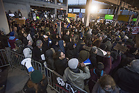 www.acepixs.com<br /> <br /> January 28 2017, New York City<br /> <br /> Protestors at John F. Kennedy International Airport following President Trump's controversial executive order that halted refugees and residents from predominantly Muslim countries from entering the United States on January 28 2017 in New York City<br /> <br /> By Line: Solar/ACE Pictures<br /> <br /> ACE Pictures Inc<br /> Tel: 6467670430<br /> Email: info@acepixs.com<br /> www.acepixs.com