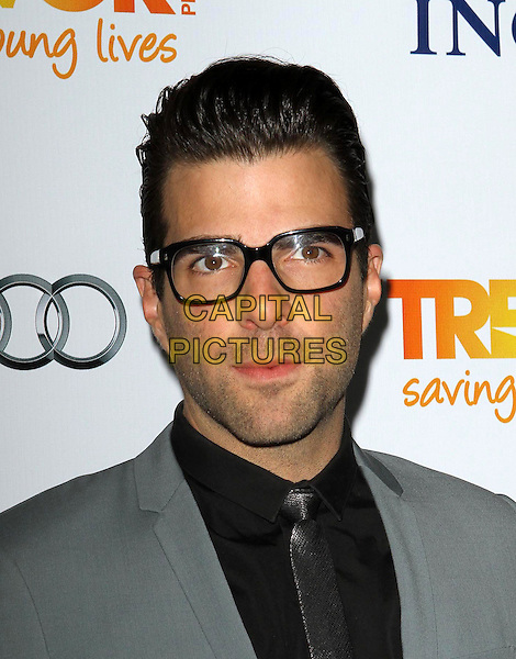 Zachary Quinto.Trevor Live at The Hollywood Palladium in Hollywood, California, USA..December 4th, 2011.headshot portrait stubble facial hair grey gray blue suit glasses black shirt silver tie .CAP/ADM/KB.©Kevan Brooks/AdMedia/Capital Pictures.