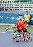 November 12 2011 - Guadalajara, Mexico:  Joel Dembe during a match in the Telcel Tennis Complex at 2011 Parapan American Games in Guadalajara, Mexico.  Photos: Matthew Murnaghan/Canadian Paralympic Committee