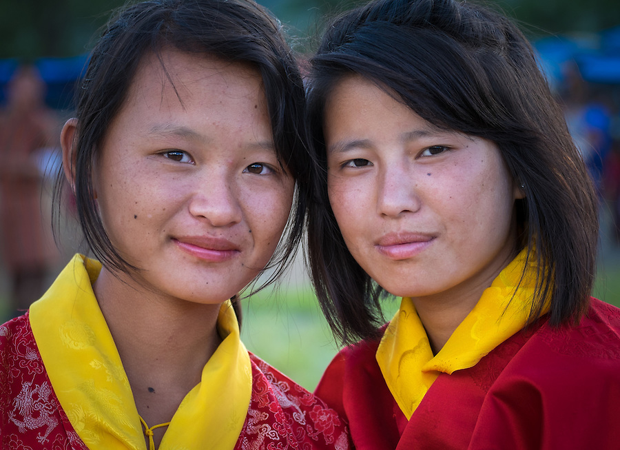 WANGDUE PHODRANG, BHUTAN - CIRCA OCTOBER 2014: Portrait of young Bhutanese girls looking at camera in Bhutan