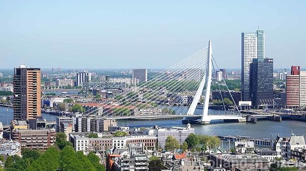 Nederland Rotterdam  2018.  Rotterdam gezien vanaf de Euromast. De Erasmusbrug.  Foto Berlinda van Dam / Hollandse Hoogte