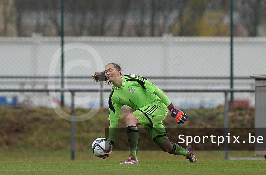 20150404 - FORST , GERMANY  : German goalkeeper Lena Pauels  pictured during the soccer match between Women Under 19 teams of Germany and Scotland , on the first matchday in group 5 of the UEFA Elite Round Women Under 19 at WaldseeStadion , Forst , Germany . Saturday 4th April 2015 . PHOTO DAVID CATRY