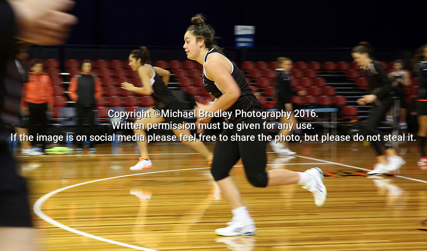 09.10.2016 Silver Ferns Maia Wilson in action during training at the Silver Dome in Launceston in Australia. Mandatory Photo Credit ©Michael Bradley.