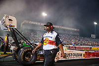 Aug 31, 2018; Clermont, IN, USA; Crew member for NHRA top fuel driver T.J. Zizzo during qualifying for the US Nationals at Lucas Oil Raceway. Mandatory Credit: Mark J. Rebilas-USA TODAY Sports