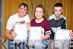 Receiving their Junior Certificate results on Wednesday were local students Jamie Ahere, Jacklyn Harnett and Shane Stack from Colaiste Ide agus Iosef.
