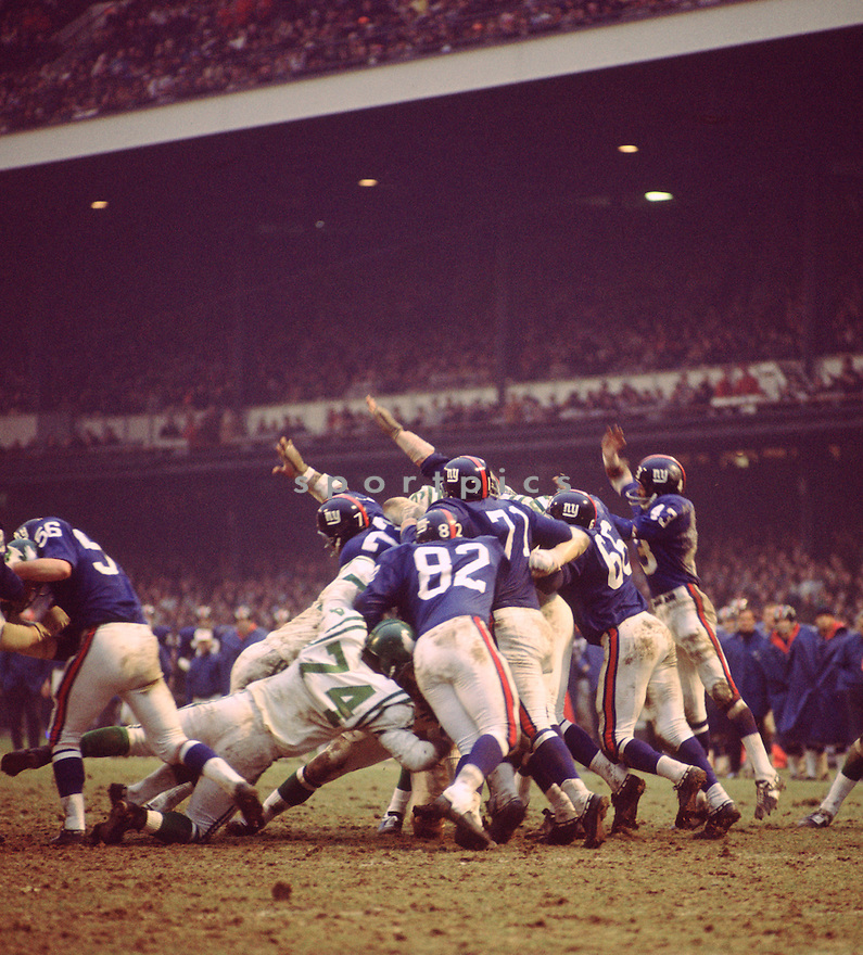 New York Giants defensive line try to block a field goal against the Philadelphia Eagles during a game on November 17. 1968 at Yankee Stadium in the Bronx, New York.  The New York Giants beat the Philadelphia Eagle 7-6.(SportPics)