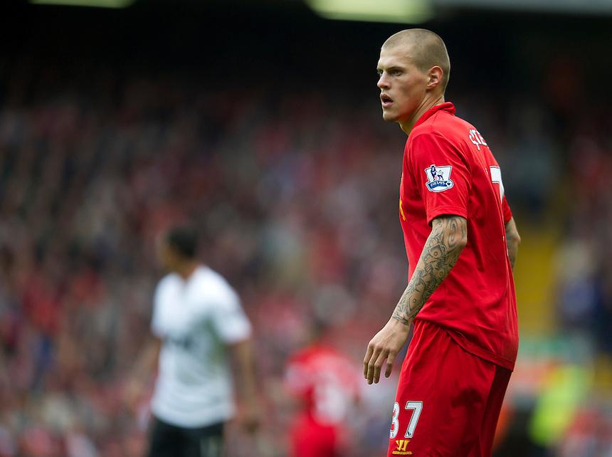 Liverpool's Martin Skrtel ..Football - Barclays Premiership - Liverpool v Manchester United - Sunday 23rd September 2012 - Anfield - Liverpool..