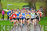 The runners head off at the start of the Gneeveguilla AC winter road race in Killarney National Park on Saturday led by Robert Purcell (756) and John Barrett (530)..