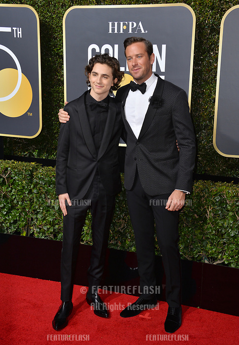 Armie Hammer &amp; Timothee Chalamet  at the 75th Annual Golden Globe Awards at the Beverly Hilton Hotel, Beverly Hills, USA 07 Jan. 2018<br /> Picture: Paul Smith/Featureflash/SilverHub 0208 004 5359 sales@silverhubmedia.com